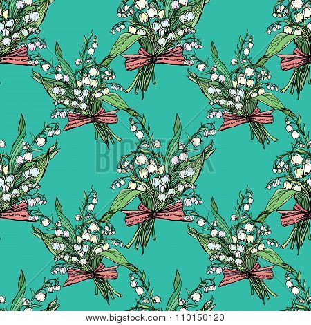 Seamless Pattern With Lily Of The Valley - Vintage Engraved Illustration Of Spring Flowers On Blue B