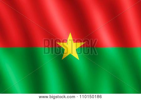 Flag Of Burkina Faso Waving In The Wind