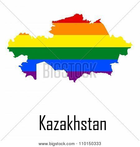 Vector Rainbow Map Of Kazakhstan In Colors Of Lgbt - Lesbian, Gay, Bisexual, And Transgender - Pride