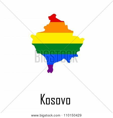 Vector Rainbow Map Of Kosovo In Colors Of Lgbt - Lesbian, Gay, Bisexual, And Transgender - Pride Fla