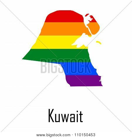 Vector Rainbow Map Of Kuwait In Colors Of Lgbt - Lesbian, Gay, Bisexual, And Transgender - Pride Fla