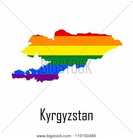 Vector Rainbow Map Of Kyrgyzstan In Colors Of Lgbt - Lesbian, Gay, Bisexual, And Transgender - Pride
