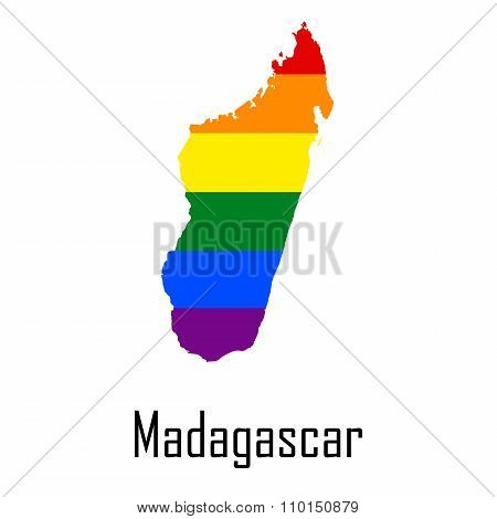 Vector Rainbow Map Of Madagascar In Colors Of Lgbt - Lesbian, Gay, Bisexual, And Transgender - Pride