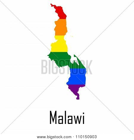 Vector Rainbow Map Of Malawi In Colors Of Lgbt - Lesbian, Gay, Bisexual, And Transgender - Pride Fla