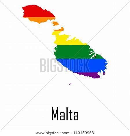 Vector Rainbow Map Of Malta In Colors Of Lgbt - Lesbian, Gay, Bisexual, And Transgender - Pride Flag