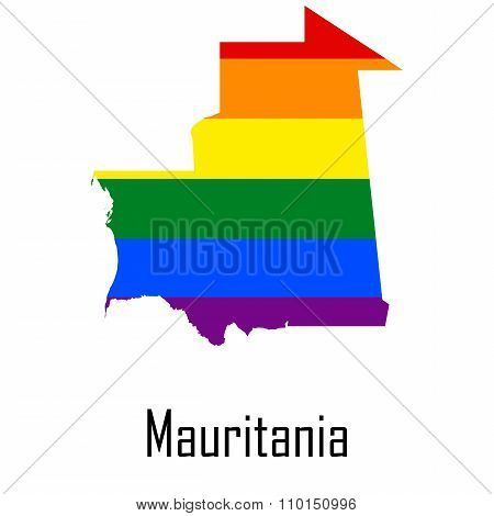 Vector Rainbow Map Of Mauritania In Colors Of Lgbt - Lesbian, Gay, Bisexual, And Transgender - Pride