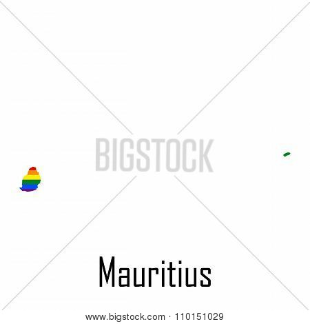 Vector Rainbow Map Of Mauritius In Colors Of Lgbt - Lesbian, Gay, Bisexual, And Transgender - Pride