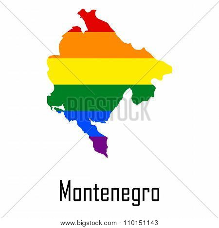 Vector Rainbow Map Of Montenegro In Colors Of Lgbt - Lesbian, Gay, Bisexual, And Transgender - Pride