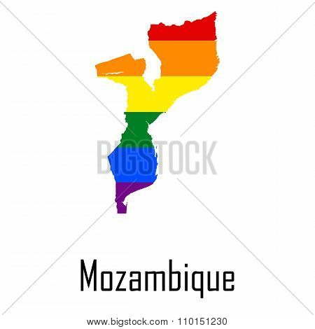 Vector Rainbow Map Of Mozambique In Colors Of Lgbt - Lesbian, Gay, Bisexual, And Transgender - Pride