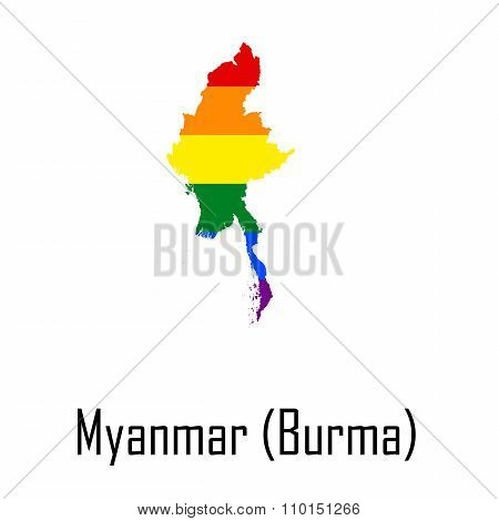 Vector Rainbow Map Of Myanmar Or Burma In Colors Of Lgbt - Lesbian, Gay, Bisexual, And Transgender -
