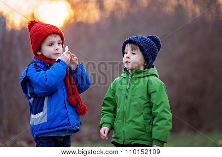 Portrait Of Two Adorable Boys, Brothers, On A Winter Day, Sunset Time