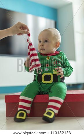 Santa Helper Baby With Red Gift