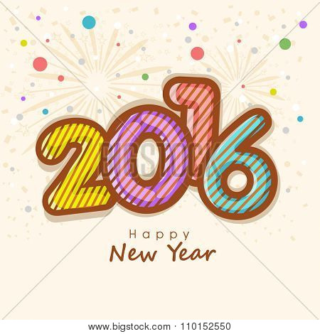 Elegant greeting card with colorful text 2016 on stylish background for Happy New Year celebration.