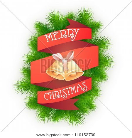 Creative ribbon with Jingle Bells on fir tree branches for Merry Christmas celebration.