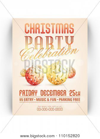 Creative invitation card design with stylish Xmas Balls for 25th December, Christmas Party celebration.
