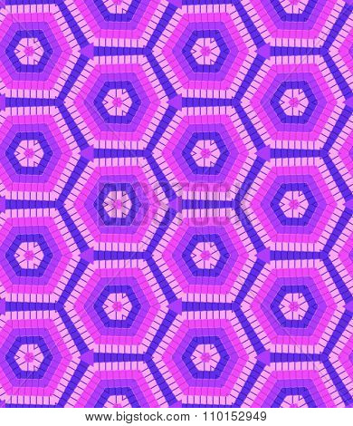 Modern Geometric Seamless Pattern Of Blue, Pink And Lilac Colors