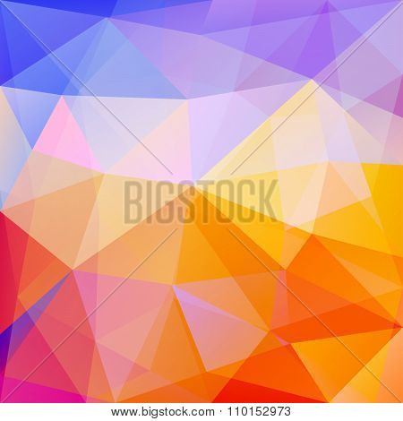 Polygonal Triangle Vector Background, Blue, Orange, Rose, Magenta And Red Colored, With Linear Gradi