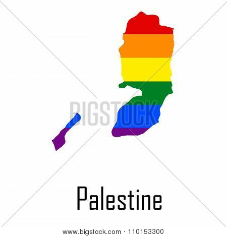 Vector Rainbow Map Of Palestine In Colors Of Lgbt - Lesbian, Gay, Bisexual, And Transgender - Pride