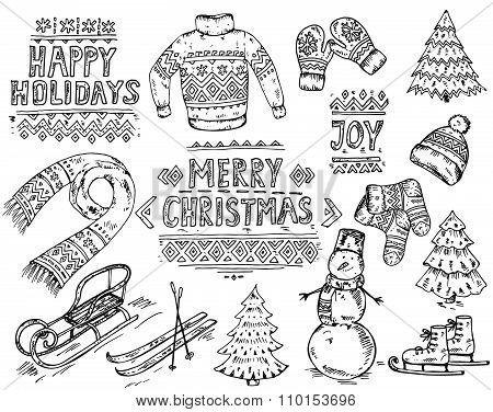 Vector Set Of Black And White Hand Drawn Christmas Holidays Elements