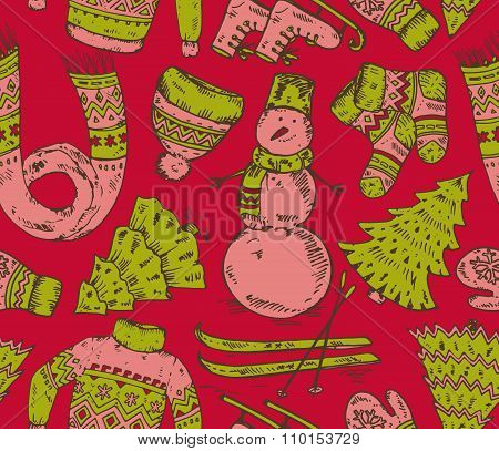 Colorful Seamless Vector Pattern With Winter Holiday Elements
