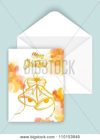 Beautiful Jingle Bells decorated greeting card design with envelope for Merry Christmas celebration.