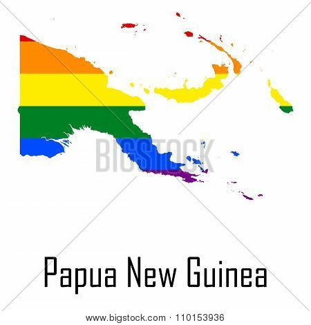 Vector Rainbow Map Of Papua New Guinea In Colors Of Lgbt - Lesbian, Gay, Bisexual, And Transgender -