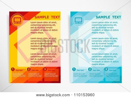 Monitor Symbol On Abstract Vector Modern Flyer, Brochure Vector Template.
