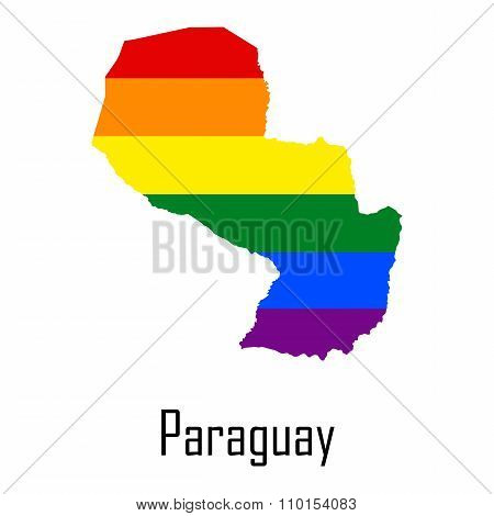 Vector Rainbow Map Of Paraguay In Colors Of Lgbt - Lesbian, Gay, Bisexual, And Transgender - Pride F