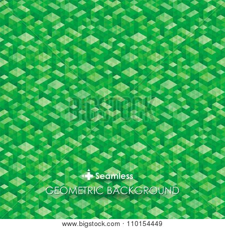 Abstract geometric green texture background. Seamless vector.