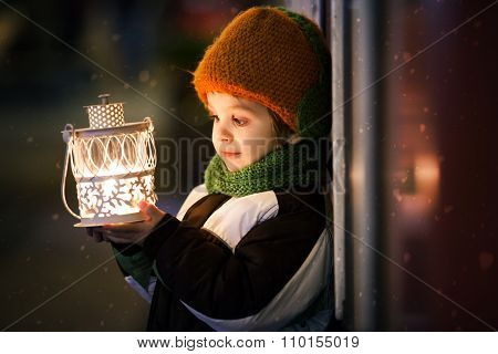 Cute Boy, Holding Lantern Outdoor