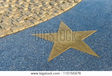 Bronze Star On The Granite Floor