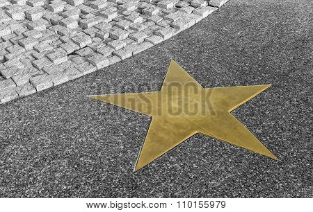 Bronze Star On The Granite Floor In Black And White