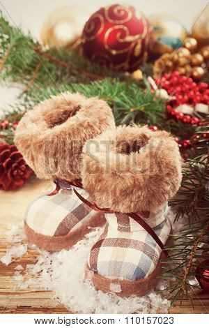 Christmas background with felt boots