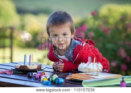 Cute Boy, Celebrating His Fifth Birthday Outdoor