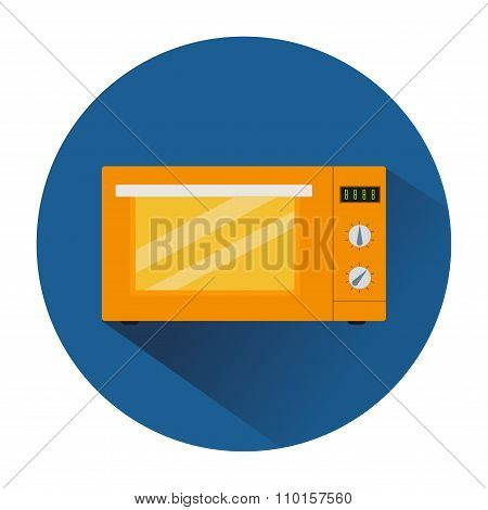 Icon Of The Orange Microwave In The Blue Circle
