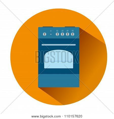 Icon Blue Cooker In An Orange Circle