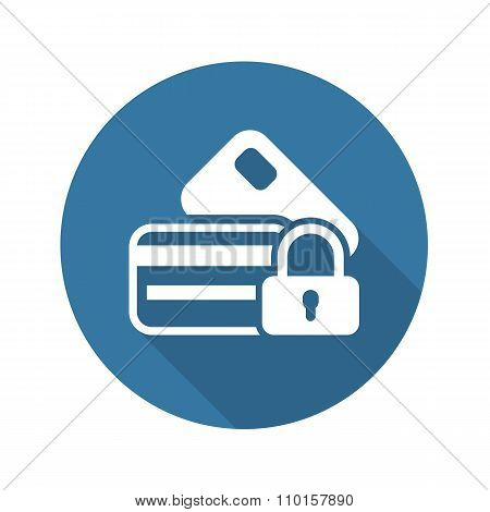 Secured Credit Card Icon. Flat Design.