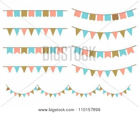 Vector Illustration of Colorful Garlands on white background. Pastel pink, gold and mint colors buntings and flags. Holiday set.