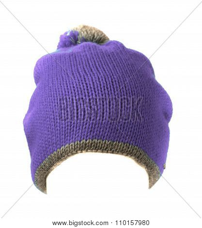 Knitted Hat With Pompon Purple Isolated On White Background