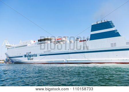 White Ship Moored In Port Of Burgas, Bulgaria