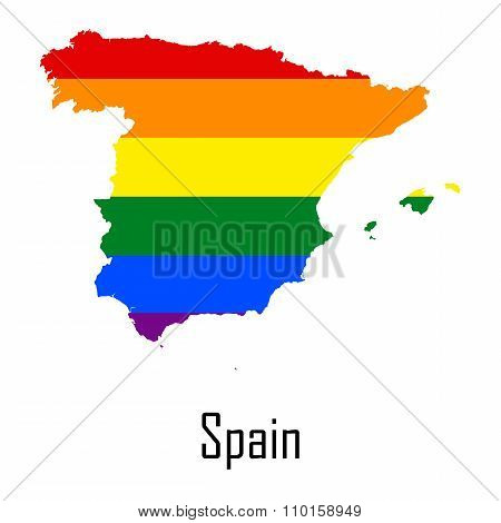 Vector Rainbow Map Of Spain In Colors Of Lgbt - Lesbian, Gay, Bisexual, And Transgender - Pride Flag