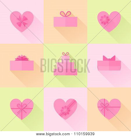 Flat Red Gift Box In The Form Of Heart Icon Set