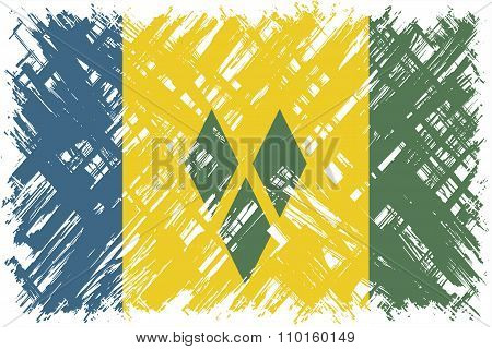 Saint Vincent and the Grenadines grunge flag. Vector illustration.