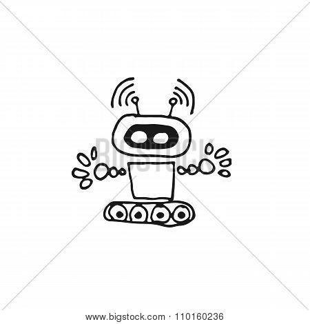 Black Robot Cyborg Vector Icon