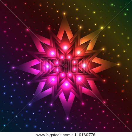 Luminous Snowflake On Spectrum Background With Plenty Of Sparkles