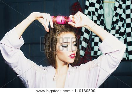 Attractive Girl With Yair-rollers