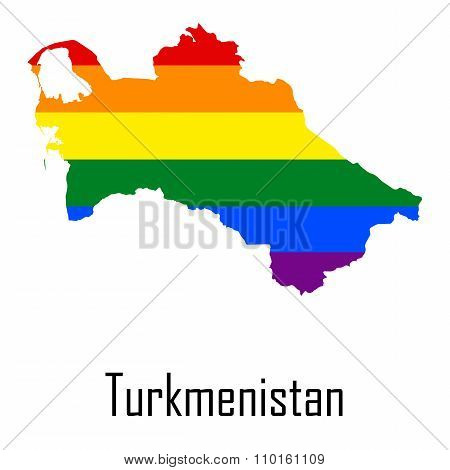 Vector Rainbow Map Of Turkmenistan In Colors Of Lgbt - Lesbian, Gay, Bisexual, And Transgender - Pri