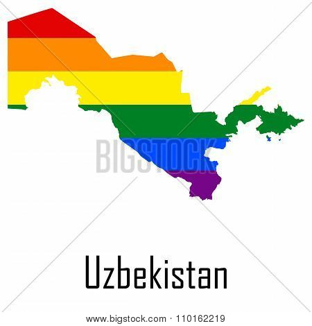Vector Rainbow Map Of Uzbekistan In Colors Of Lgbt - Lesbian, Gay, Bisexual, And Transgender - Pride