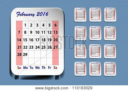 Calendar For February 2016