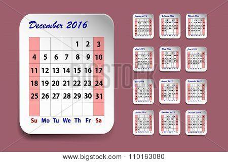 Calendar For December 2016